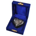 Pet Urn Keepsake: Gun Metal Pawprint Heart shown in velvet presentation box