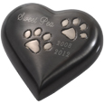 Gun Metal Pawprint Heart shown engraved