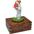 Wood engraving shown on front of Jack Russell Terrier figurine wood urn