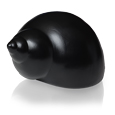Side view of Ocean Spirit Spiral Shell Pet Urn in black