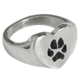 Pawprint Heart Ring made of stainless steel