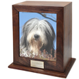 Elegant Photo Wood Dog Urn shown with photo and engraved plaque