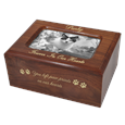 Memory Box Cat Urn with Photo Window- Slider with gold engraving