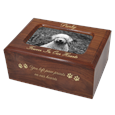 Memory Box Dog Urn with Photo Window- Slider engraved with gold fill