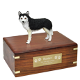Black & White Husky with Brown Eyes Figurine Wood Urn with engraved plaque