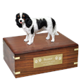 Tricolor Cavalier King Charles Spaniel Wood Urn w/ engraved plaque
