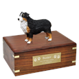 Australian Shepherd Tri-color Dock Figurine Wood Urn with plaque