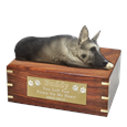 Silver and Black German Shepherd Figurine Wood Urn- Laying with gold plaque
