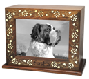 Floral Embellished Wood Pet Urn with Photo Window