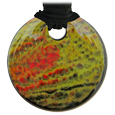 Pet Memorial Glass Urn Jewelry: Vintage Embrace Round Olive