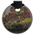Pet Memorial Glass Urn Jewelry: Vintage Embrace Round Black