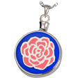 Pet Cremation Jewelry Blue with Pink Rose