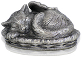 Metallic Silver Sleeping Angel Cat Cremation Urn