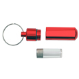 Interior vial shown of red pet urn keepsake keychain