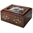 Photo Wood Cat Urn Chest shown with b&w photo