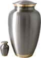 Large Dog Urn - Pewter with Two Gold Bands