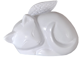 Cat Urn: Sleeping Cat Angel shown in white