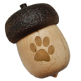 Acorn Pet Keepsake Urn with Engraved Dog Paw