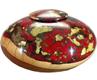 Wooden Pet Urn: Apple Wood Dark Red & Antique Gold