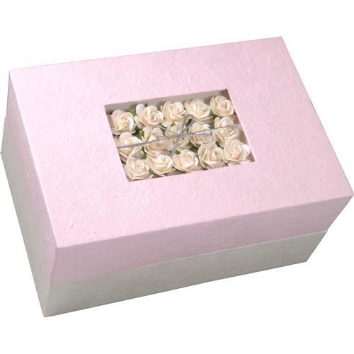 Biodegradable Pet Urns: Pink Floral Bouquet- rectangle