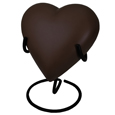 Brass Heart Pet Urn- Espresso shown on display stand