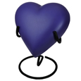 Brass Heart Pet Urn- Violet shown on display stand