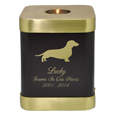 Brass Square Dog Urn- Espresso shown with engraved block text and clip art