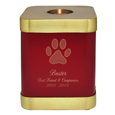 Brass Square Dog Urn- Scarlet shown with engraved block text and clip art