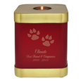 Brass Square Cat Urn- Scarlet shown with engraved block text and clip art