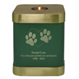 Brass Square Dog Urn- Sage shown with engraved block text and clip art