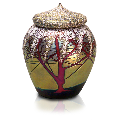 Glass Pet Urn Cherry Blossom