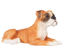 Figurine Dog Urns: Boxer Ears Down, Fawn & White