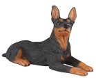 Figurine Dog Urns: Miniature Pinscher Ears Up Black