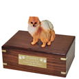 Pet Urns: Pomeranian Red Figurine Wood Urn