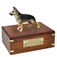 Pet Urns: German Shepherd Tan & Black Figurine Wood Urn