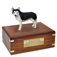 Pet Urns: Husky Black & White Blue Eyes Figurine Wood Urn