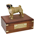 Pet Urns: Pug Figurine Wood Urn