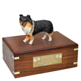 Pet Urns: Sheltie Tri-color Figurine Wood Urn