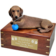 Pet Urns: Dachshund Red Figurine Wooden Urn- with ball