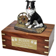 Pet Urns: Border Collie Figurine Wooden Urn