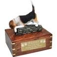 Beagle Figurine Wood Urn shown with engraved plaque