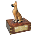 Pet Urns: Great Dane Dog Figurine Wood Urn