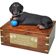 Pet Urns: Dachshund Figurine Wooden Urn- with ball
