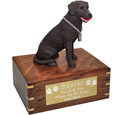 Labrador Retriever Chocolate Dog Figurine Wood Urn
