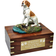 Pointer Figurine Wooden Urn