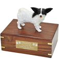 Papillon Black & White Dog Figurine Wood Pet Urn