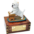 Playful Westie Dog Figurine Wooden Urn