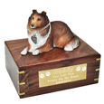 Collie Sable Dog Figurine Wooden Urn