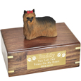 Pet Urns: Yorkshire Terrier Figurine Wood Urn- with Ribbon