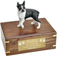 Pet Urns: Boston Terrier Figurine Wood Urn- with Ribbon